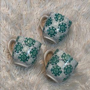 Threshold Green & White Coffee Mugs NWOT